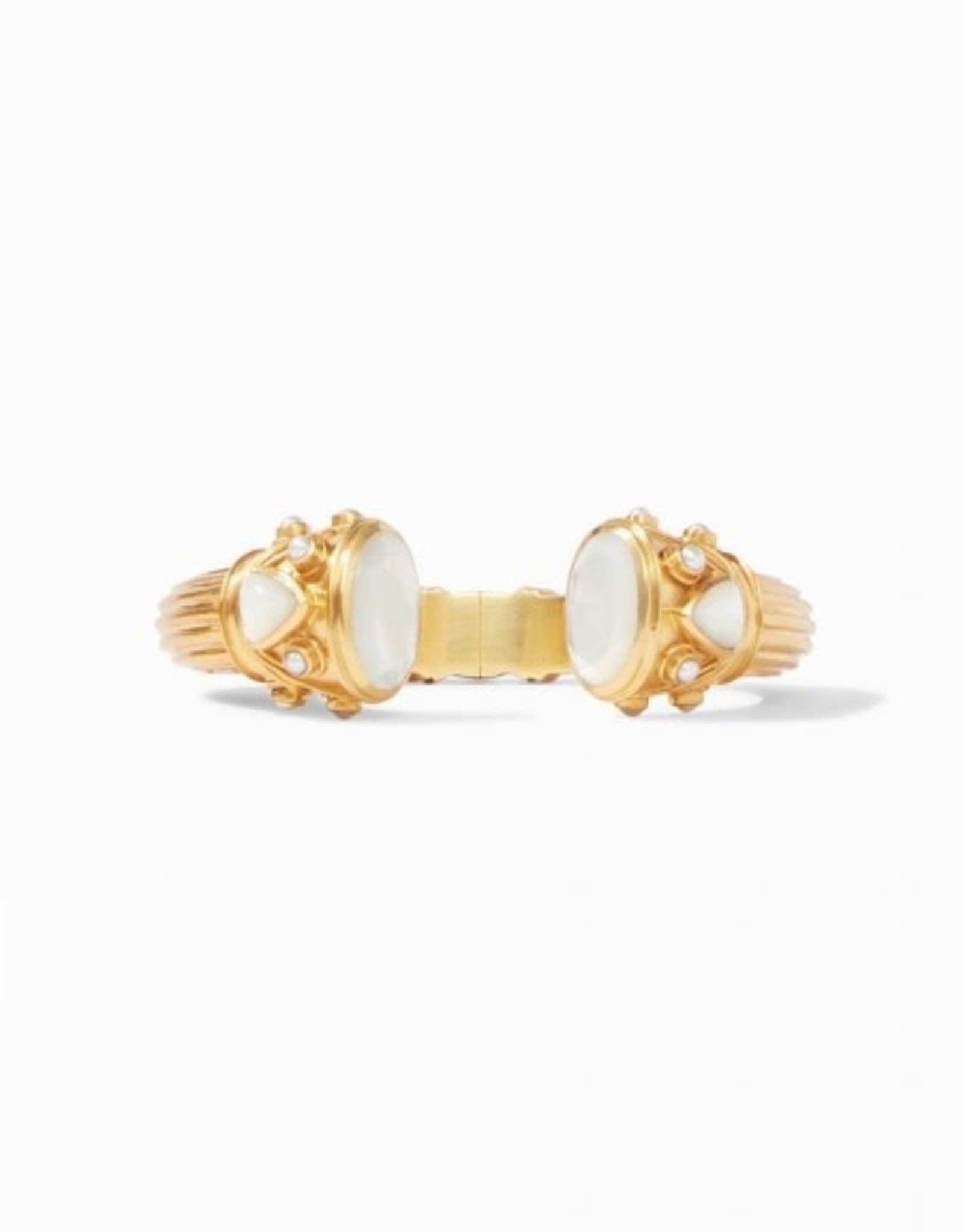 Julie Vos Byzantine Hinge Cuff Gold Iridescent Clear Crystal Endcaps with Iridescent Cleary Crystal and Pearl Accents