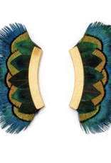 Brackish Westmore Crescent Earrings - Peacock Feathers