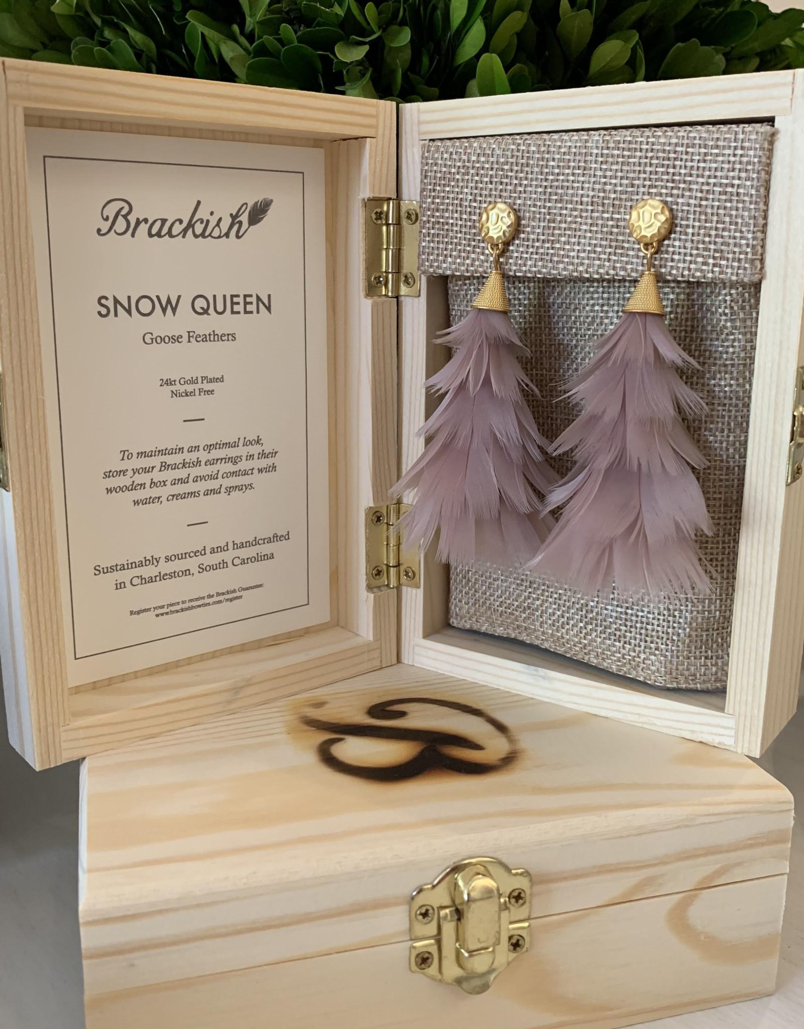 Brackish Snow Queen Earrings - Goose Feathers