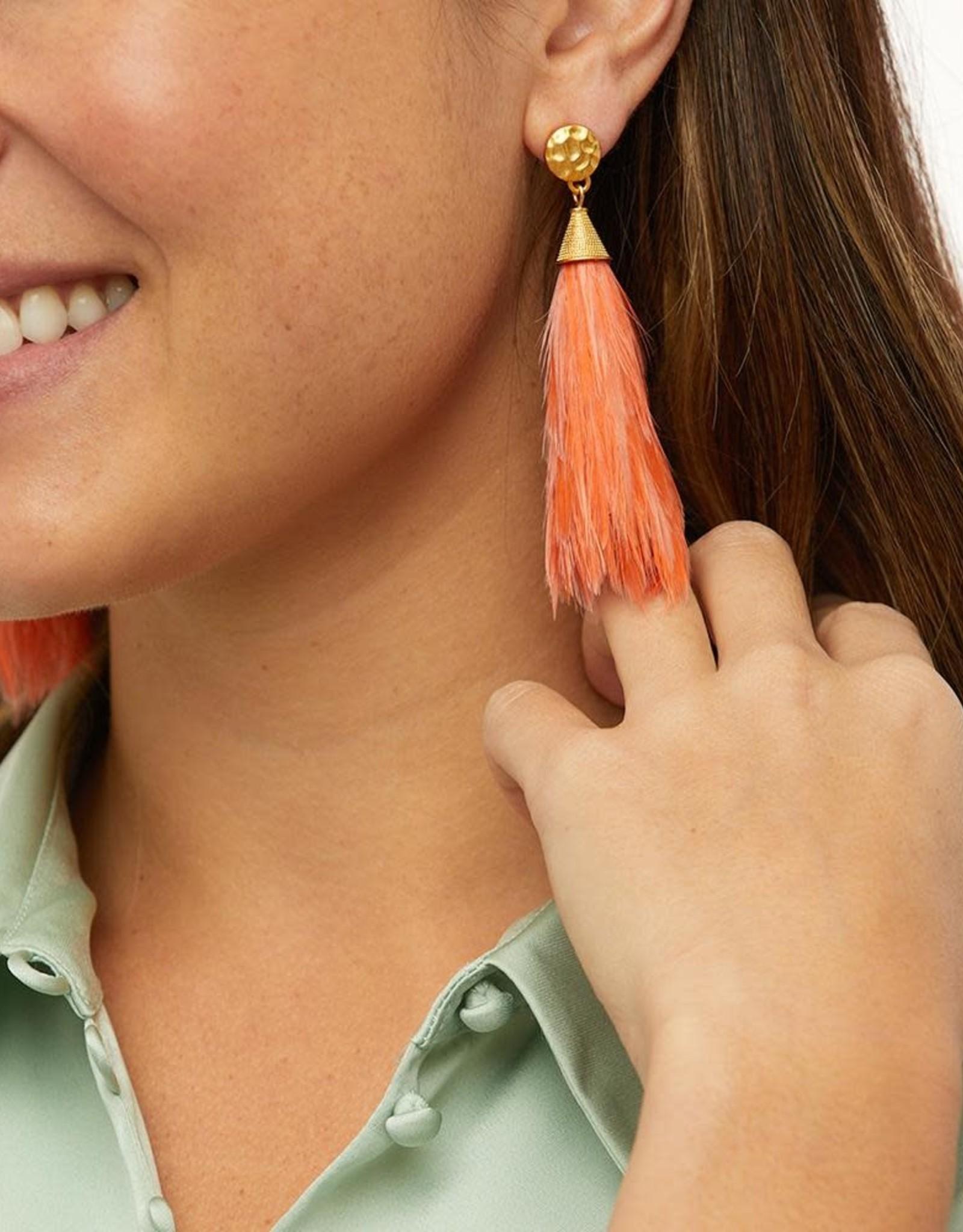 Brackish Firelight Earrings - Rooster Feathers