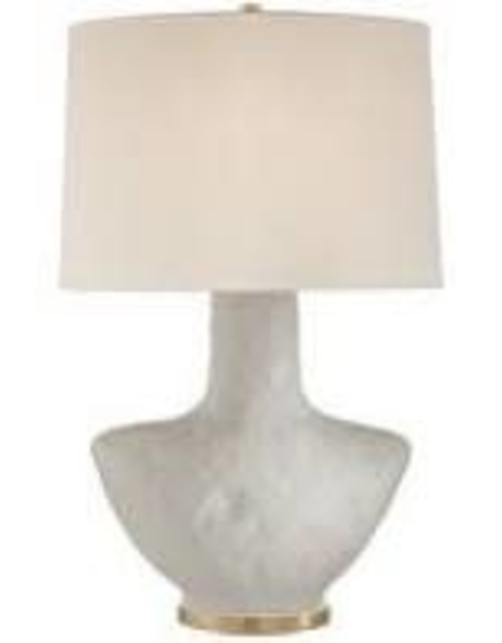 Visual Comfort Armato Small Table Lamp in Porous White Ceramic with Oval Linen Shade