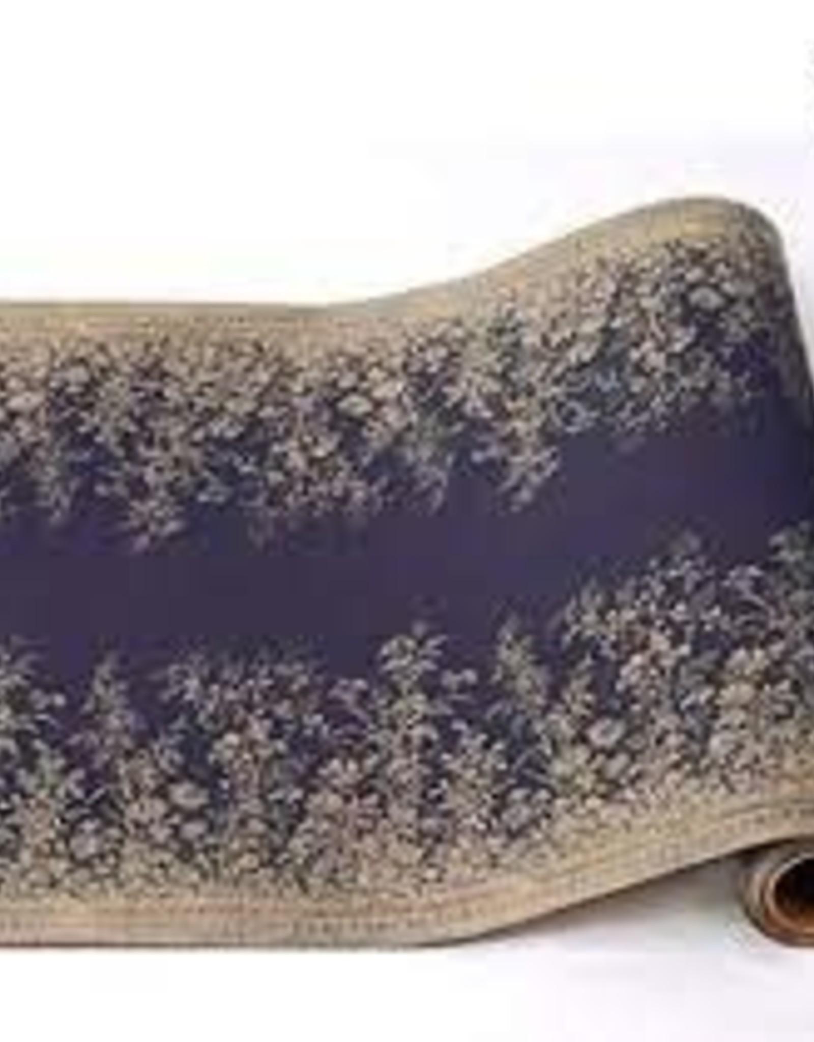 "Hester & Cook Navy Woven Floral Runner - 20' x 25"""