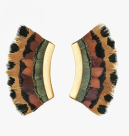 Brackish Fairfax Crescent Earrings - Pheasant Feathers