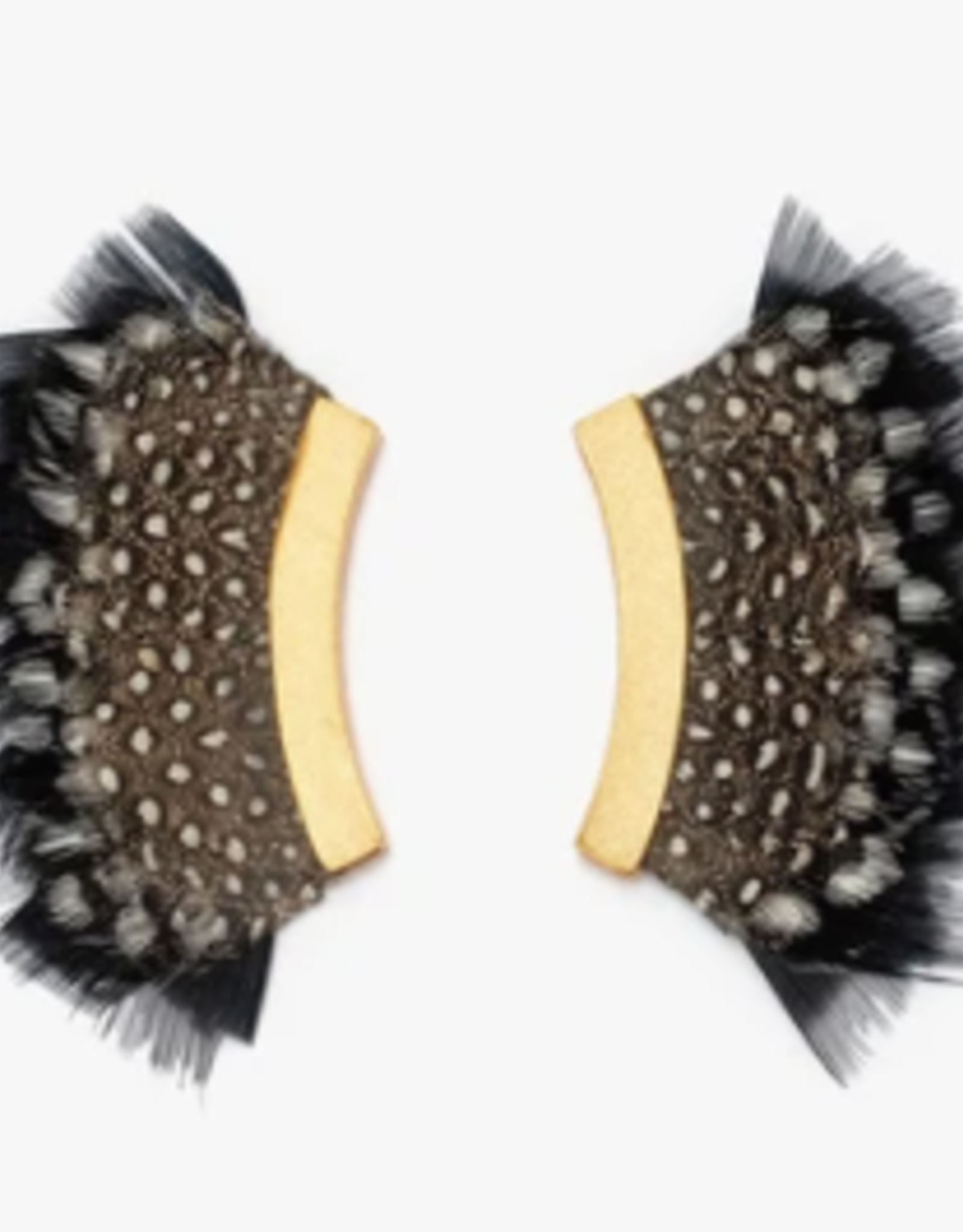 Brackish Tang Crescent Earrings - Giuinea and Turkey Feathers