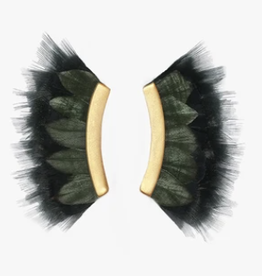 Brackish Komo Crescent Earrings - Turkey, Rooster and Goose Feathers