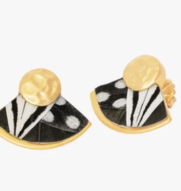 Brackish Delores Fan Earring - Guinea, Rooster and Pheasant Feathers