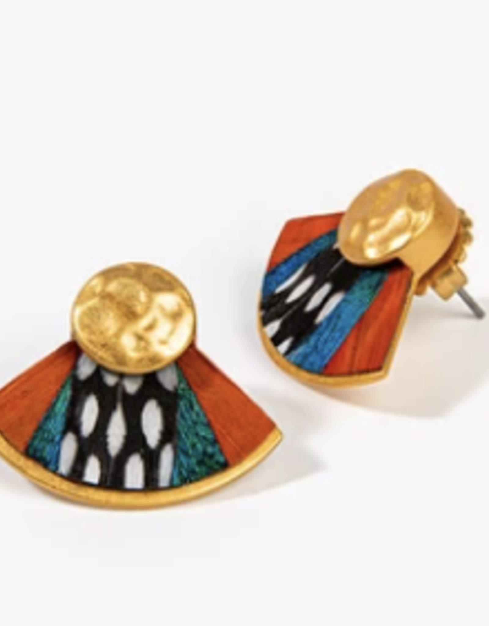 Brackish Louisa Fan Earring - Guinea, Peacock and Pheasant Feathers