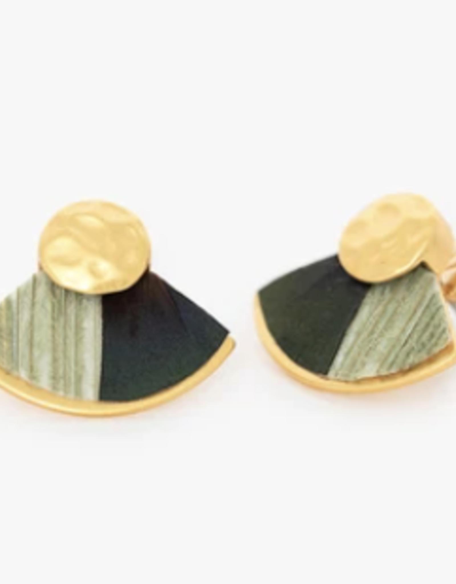 Brackish Spruce Fan Earrings - Peacock and Pheasant Feathers