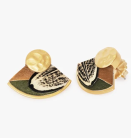 Brackish BoHo Fan Earring - Pheasant, Goose and Rooster Feathers