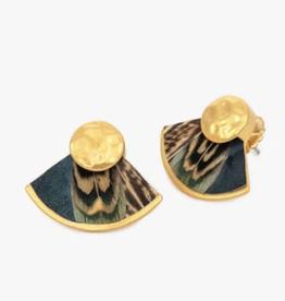 Brackish Gussie Fan Earring - Pheasant Feathers