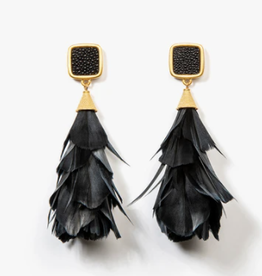 Brackish Parades Earrings - Goose Feathers and Stingray