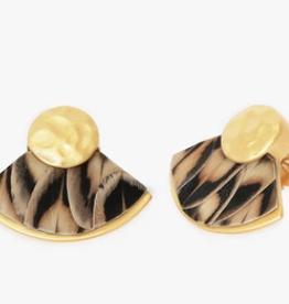 Brackish Wallowa Fan Earrings - Pheasant Feathers
