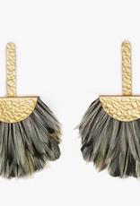 Brackish Snowbird Grecian Earrings - Rooster Feathers