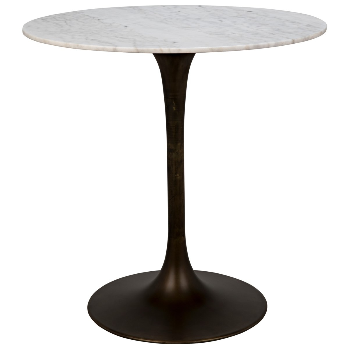 """Laredo Bar Table 40"""", Aged Brass, White Marble Top"""