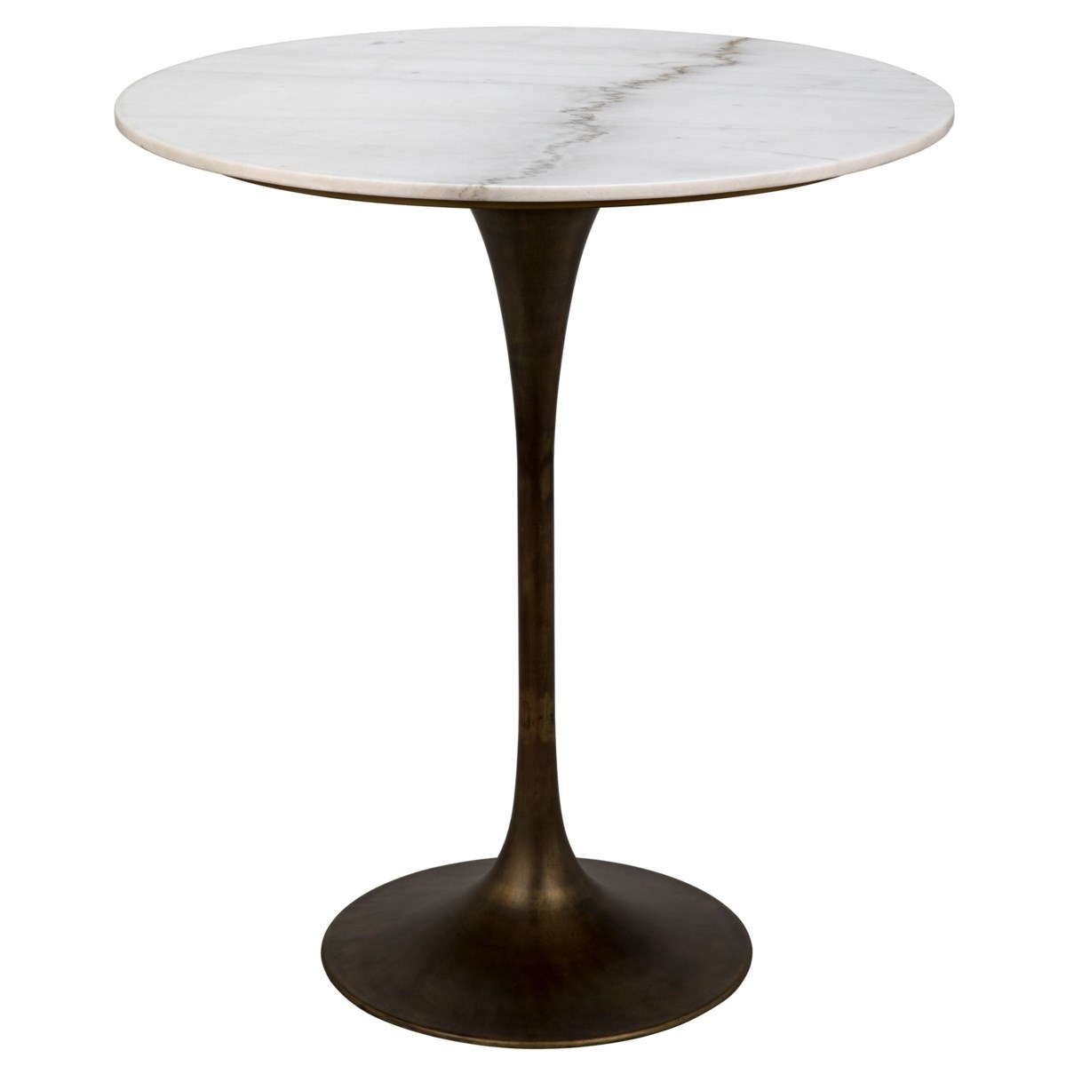 """Laredo Bar Table 36"""", Aged Brass,White Marble Top"""