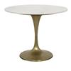 "Laredo Table, 36"", Antique Brass, White Marble Top"
