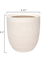 Curio Embossed Matte White Pot