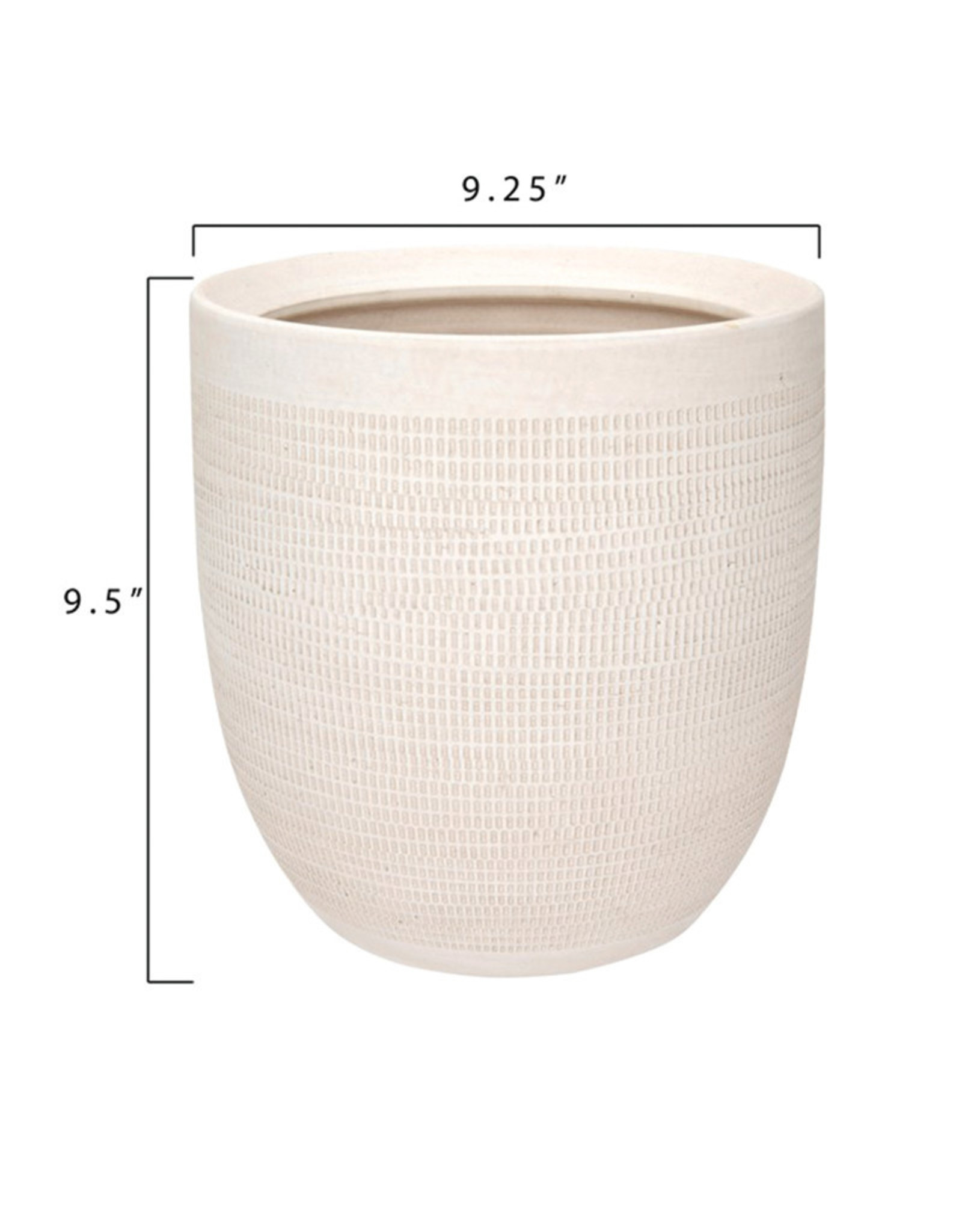 Curio Embossed Matte White Pot
