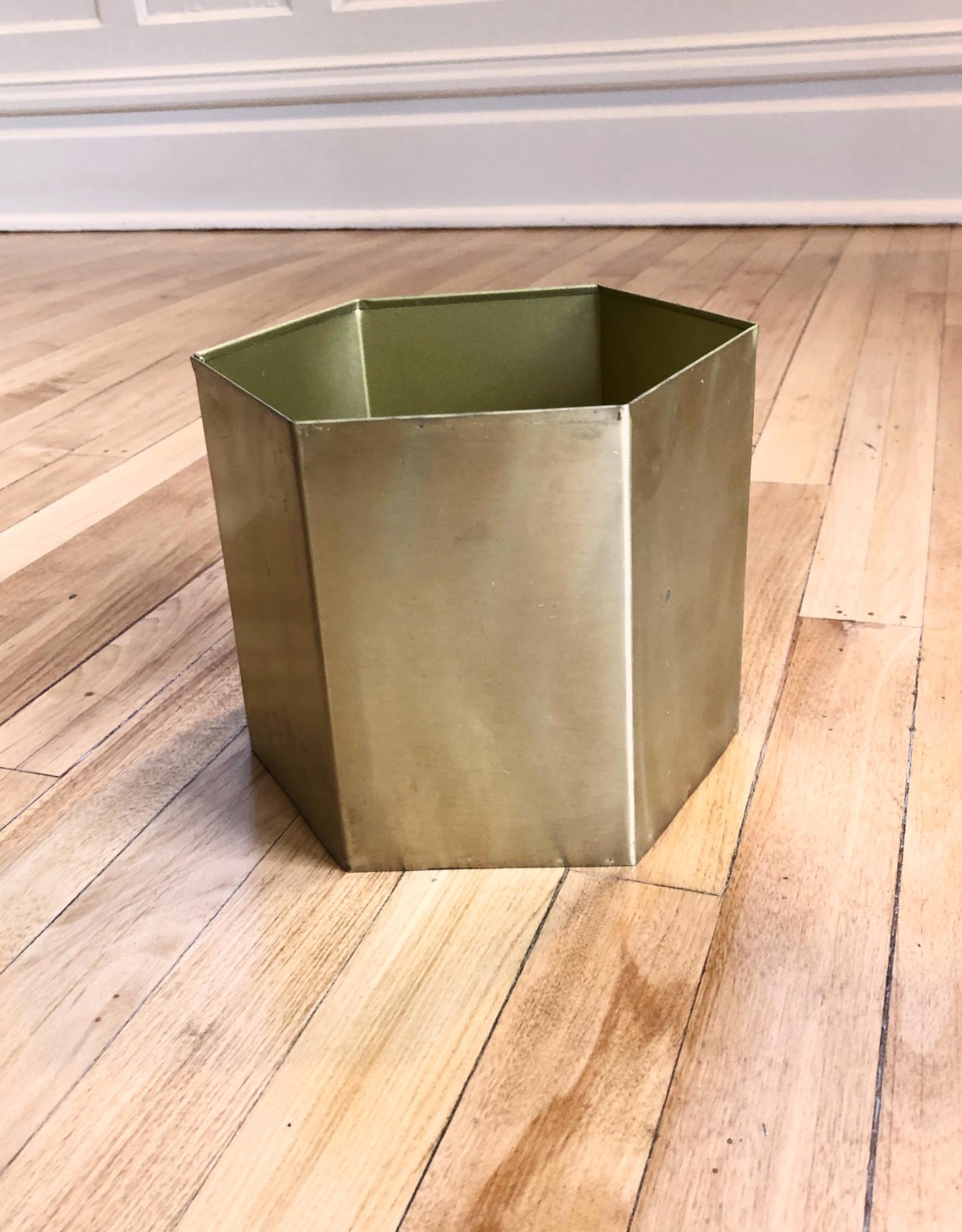 Curio Brass Hex Planter