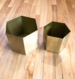 Curio Brass Hex Planter