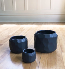 Curio Faceted Plant Pot, Matte Black