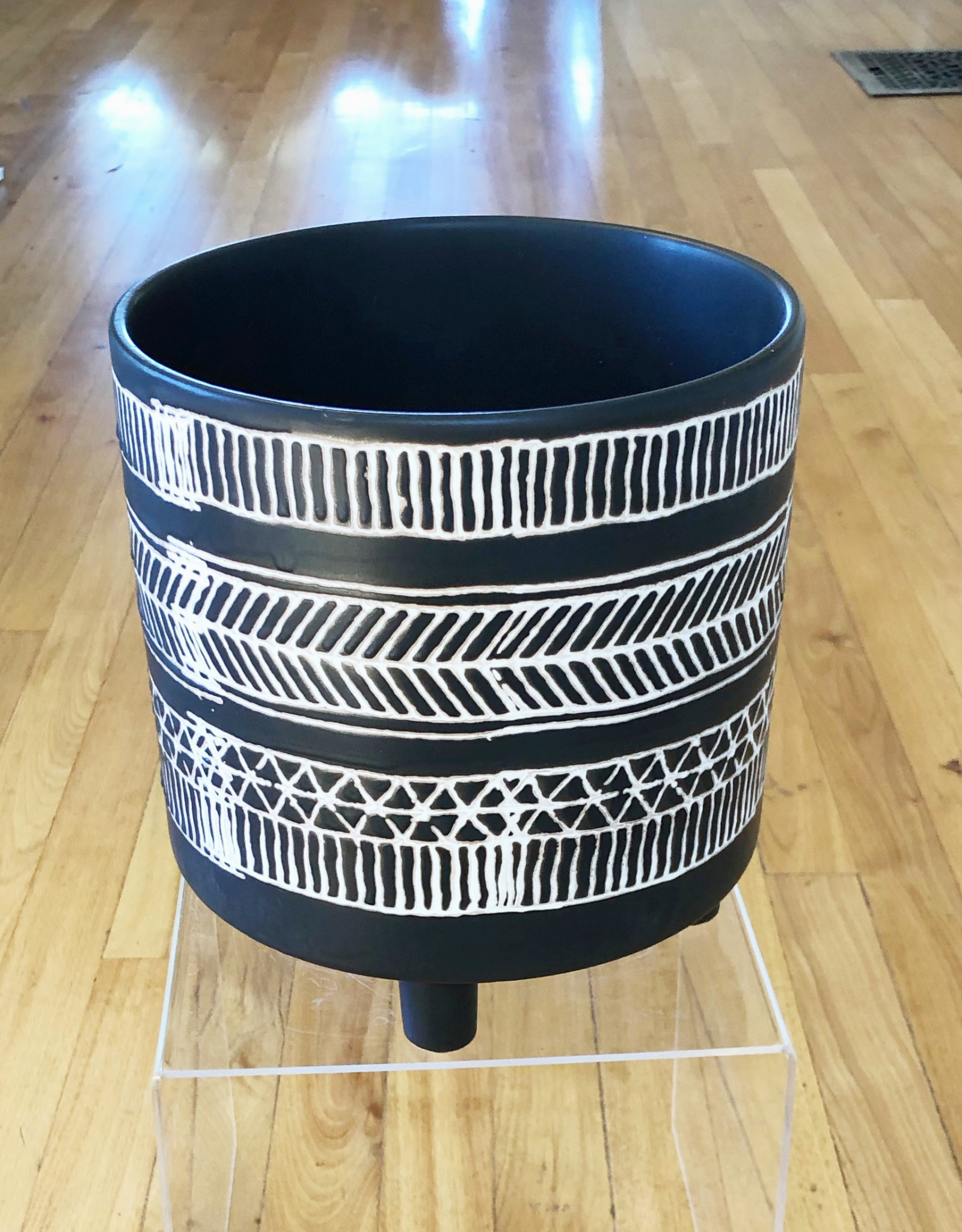 "Curio Patterned Stoneware Planter, 8""w x 8.25""h"
