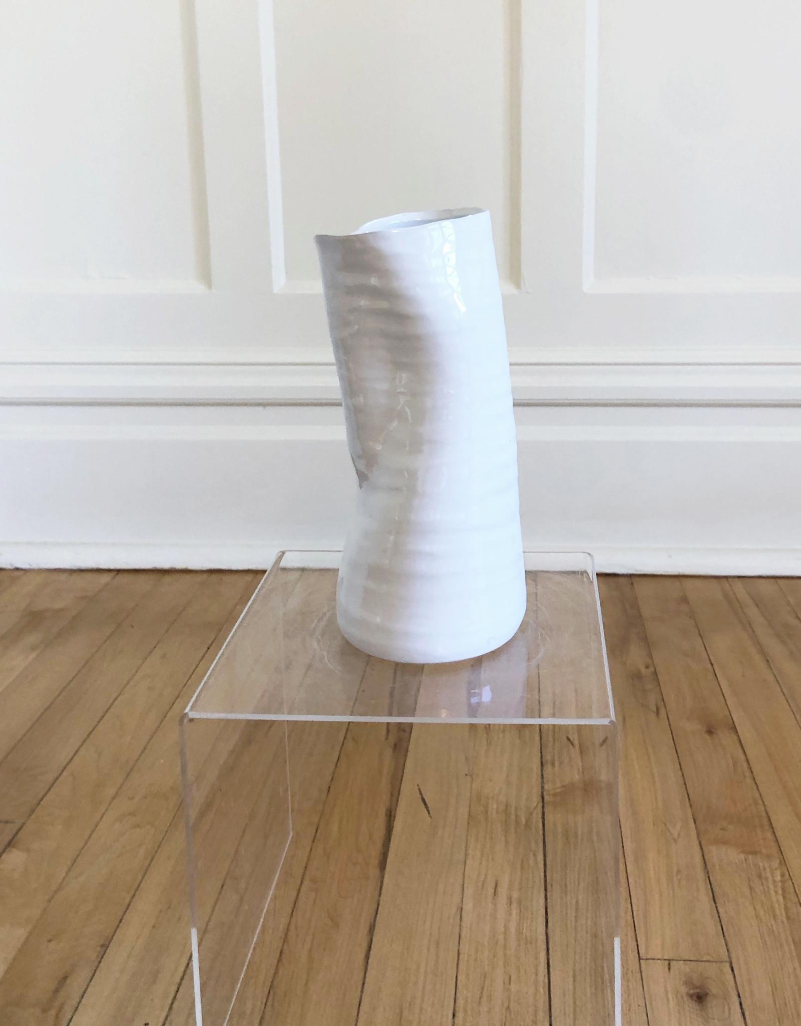 "Curio Perfect White Vase, 4.25""w x 9""h"