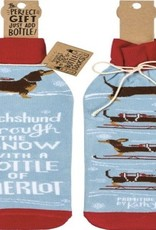Bottle Cover - Dachshund Through The Snow With A Bottle Of Merlot