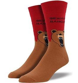 Mens Socks - Hangry Bear (Red/Brown)