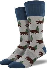 Mens Socks - Outdoor Bear (Light Gray)