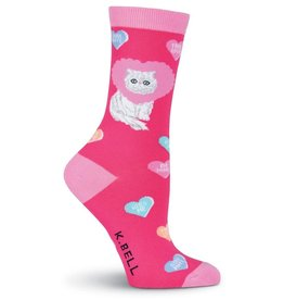 Womens Socks  - White Cat (Pink)