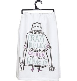 Tea Towel - Crazy Old Lady Fabulous Glitter