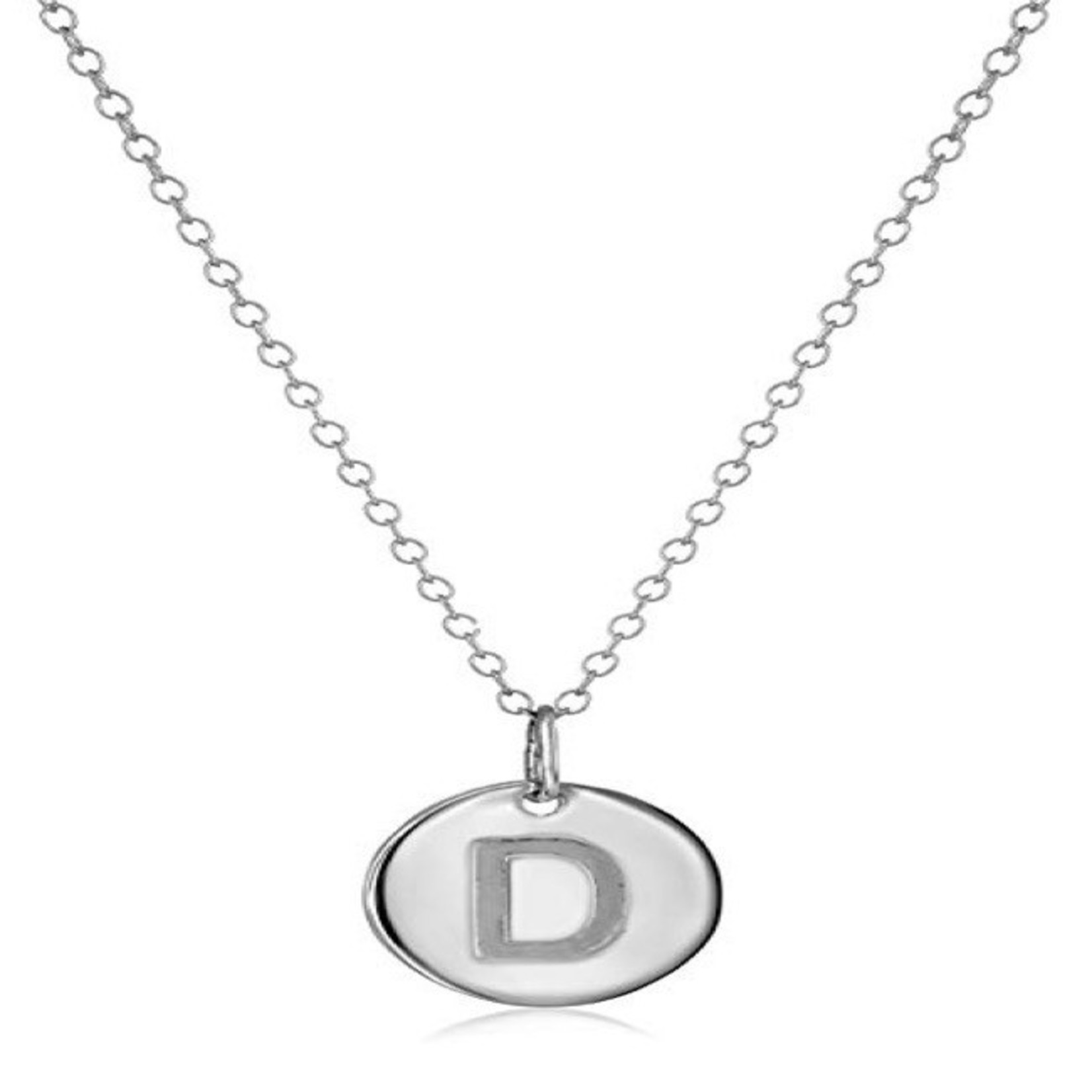 Necklace - Dainty Disc W/ Initial (Silver) (D)