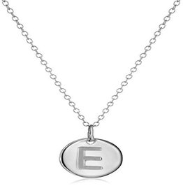 Necklace - Dainty Disc W/ Initial (Silver) (E)