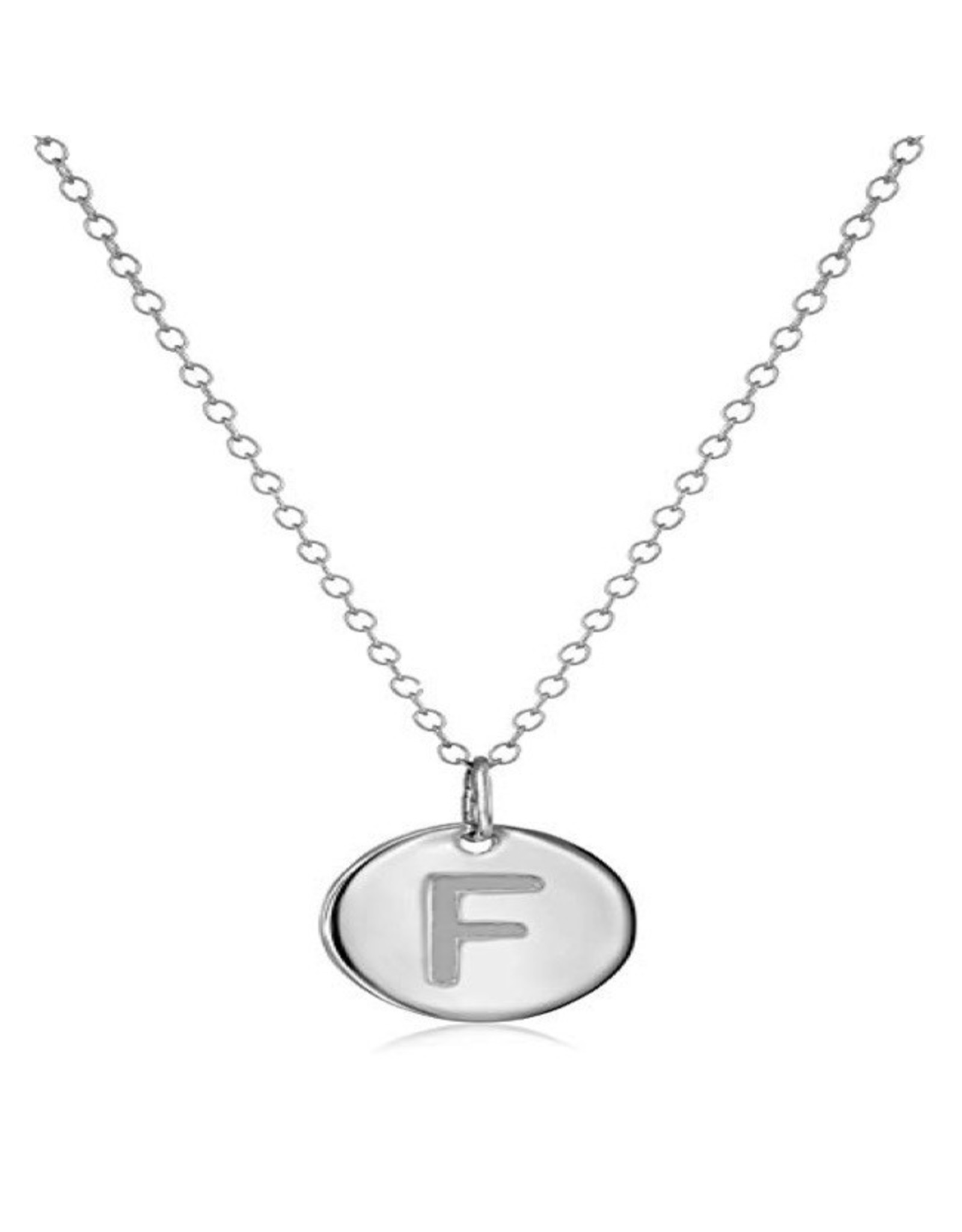 Necklace - Dainty Disc W/ Initial (Silver) (F)