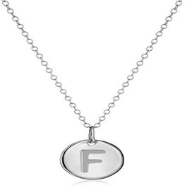 Cool And Interesting Necklace - Dainty Disc W/ Initial (Silver) (F)