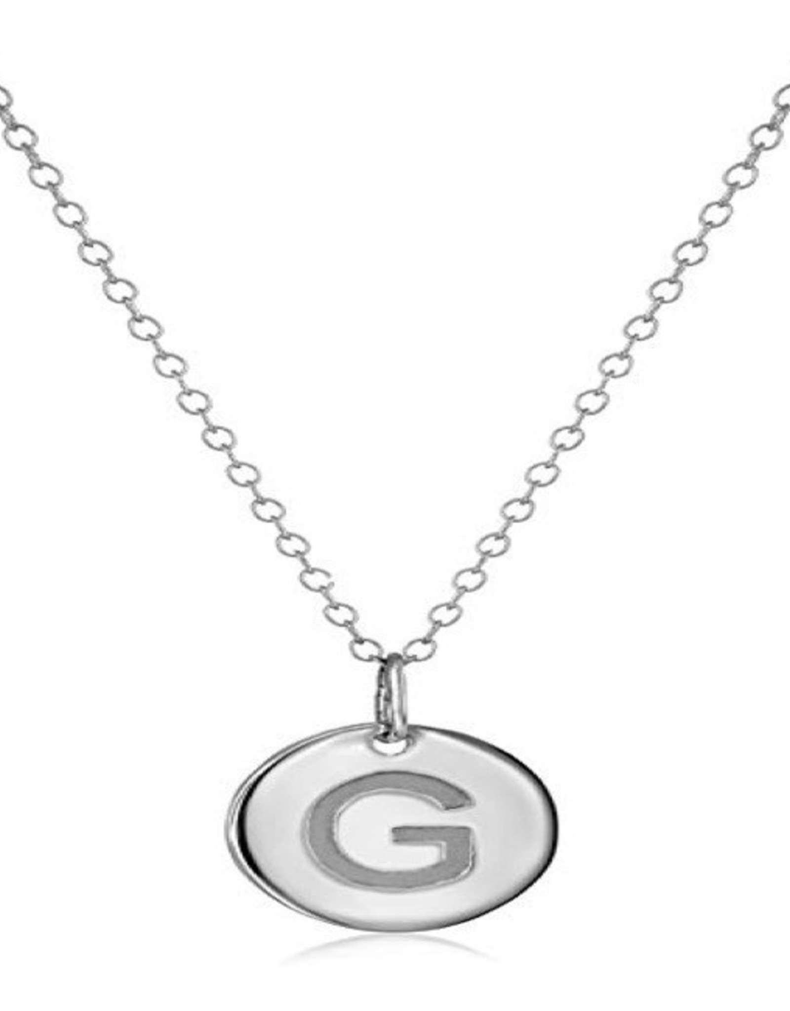 Necklace - Dainty Disc W/ Initial (Silver) (G)