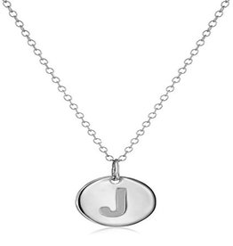 Cool And Interesting Necklace - Dainty Disc W/ Initial (Silver) (J)