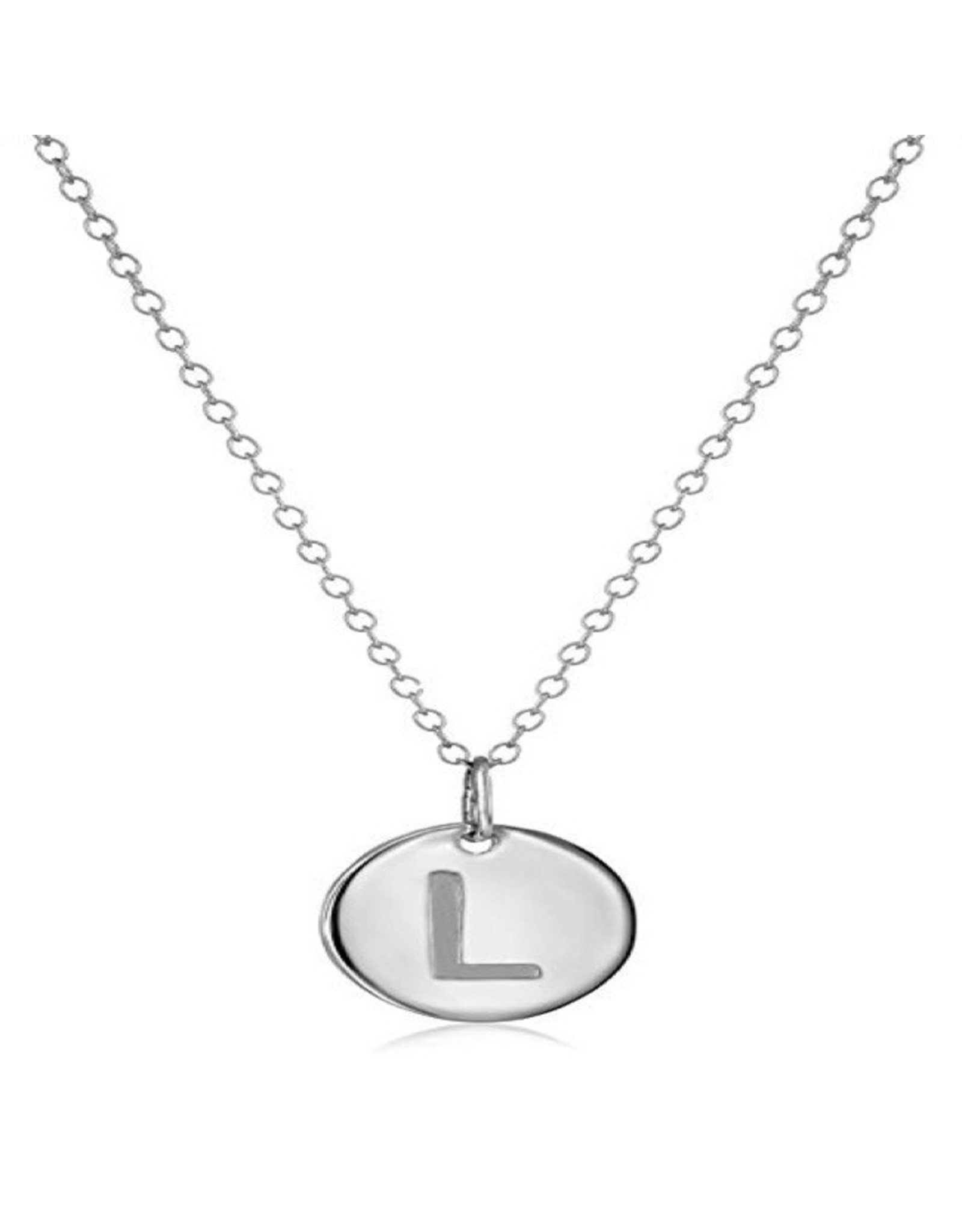 Necklace - Dainty Disc W/ Initial (Silver) (L)