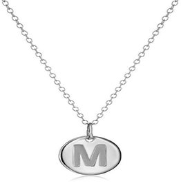 Necklace - Dainty Disc W/ Initial (Silver) (M)