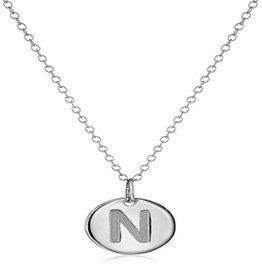 Necklace - Dainty Disc W/ Initial (Silver) (N)