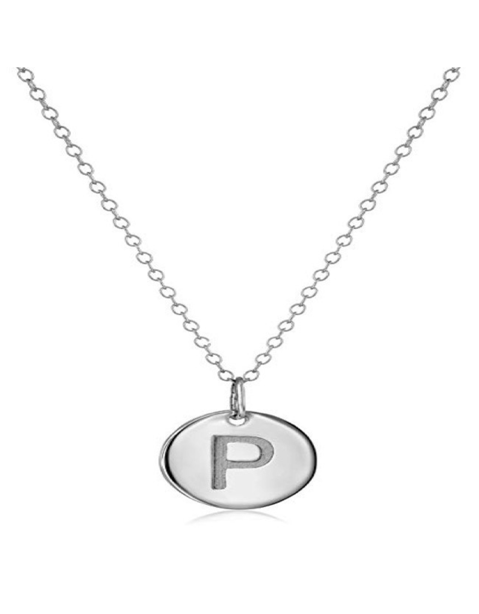 Necklace - Dainty Disc W/ Initial (Silver) (P)