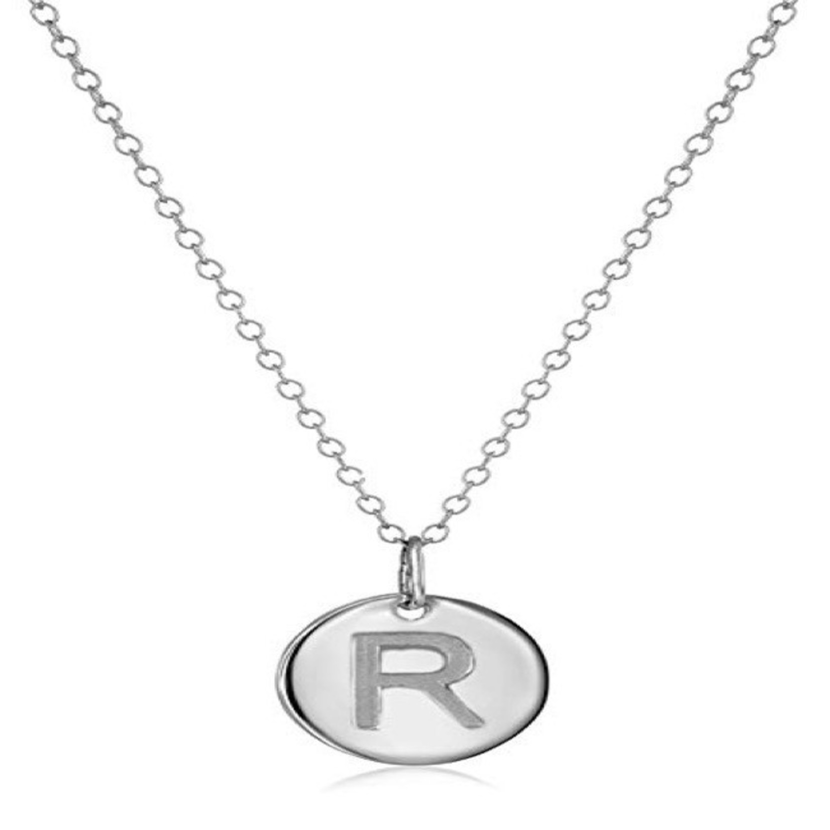 Necklace - Dainty Disc W/ Initial (Silver) (R)