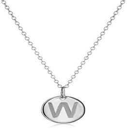 Necklace - Dainty Disc W/ Initial (Silver) (W)