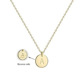 Necklace - Dainty Disc W/ Initial (Gold) (A)