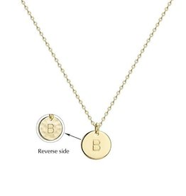 Necklace - Dainty Disc W/ Initial (Gold) (B)