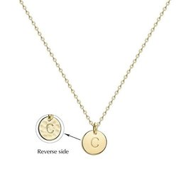 Necklace - Dainty Disc W/ Initial (Gold) (C)