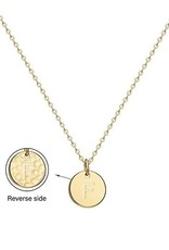 Necklace - Dainty Disc W/ Initial (Gold) (F)