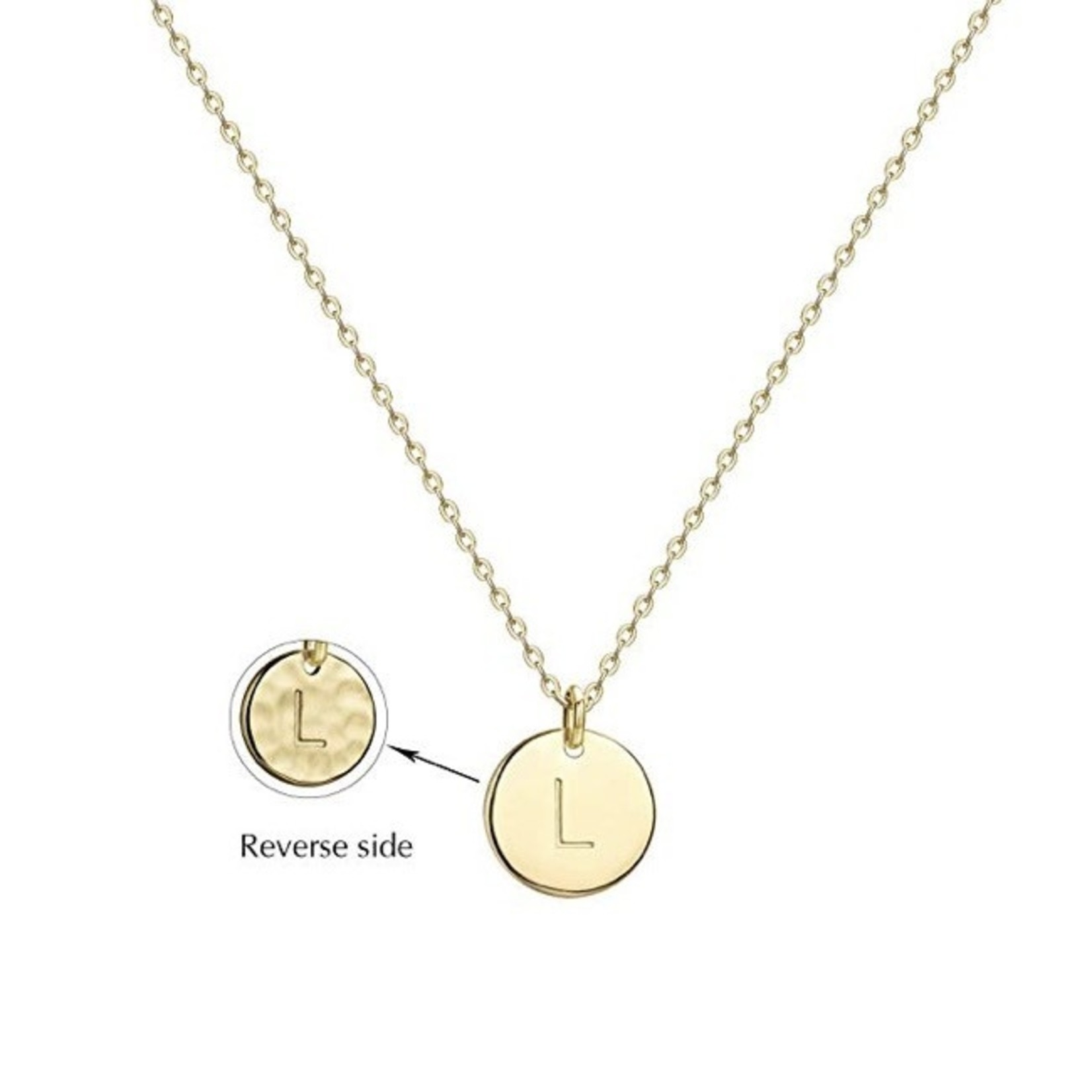 Necklace - Dainty Disc W/ Initial (Gold) (L)