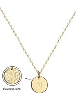 Necklace - Dainty Disc W/ Initial (Gold) (N)